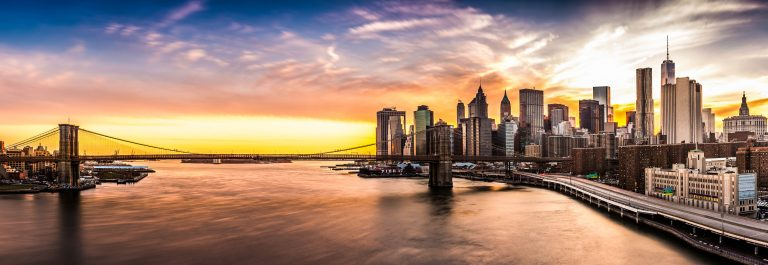 Brooklyn Bridge panorama at sunset