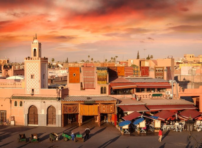 Djemaa el-Fna Square by sunset light.See other Moroccan photos: